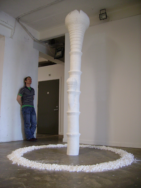 Brendan Jamison with Sugarcube Sculpture